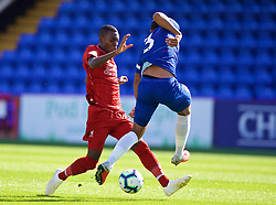 LONDON, ENGLAND - Saturday, September 29, 2018: Liverpool's Rafael Camacho tackles Chelsea's captain Joshua Grant during the Under-23 FA Premier League 2 Division 1 match between Chelsea FC and Liverpool FC at The Recreation Ground. (Pic by David Rawcliffe/Propaganda)