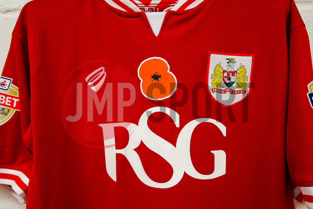 Bristol City shirts hang in the changing room before the game with Remembrance Poppies on the chest - Mandatory byline: Rogan Thomson/JMP - 07966 386802 - 03/11/2015 - FOOTBALL - Ashton Gate Stadium - Bristol, England - Bristol City v Wolves - Sky Bet Championship.