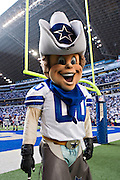 IRVING, TX - JANUARY 13:   Dallas Cowboys mascot Rowdy before a game against the New York Giants during the NFC Divisional playoff at Texas Stadium on January 13, 2008 in Dallas, Texas.  The Giants defeated the Cowboys 21-17.  (Photo by Wesley Hitt/Getty Images) *** Local Caption ***