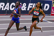 Athing Mu battles Raevyn Rogers en route to setting a new American Record time of 1:23.77  in the Michelob Lite Ultra 600m during the USA Indoor Track and Field Championships in Staten Island, NY, Sunday, Feb 24,2019. (Rich Graessle/Image of Sport)
