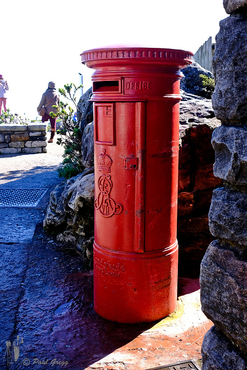 Cape Town, South Africa. Table Mountain. A Royal mail post box is to be found on the top of Table Mountain.