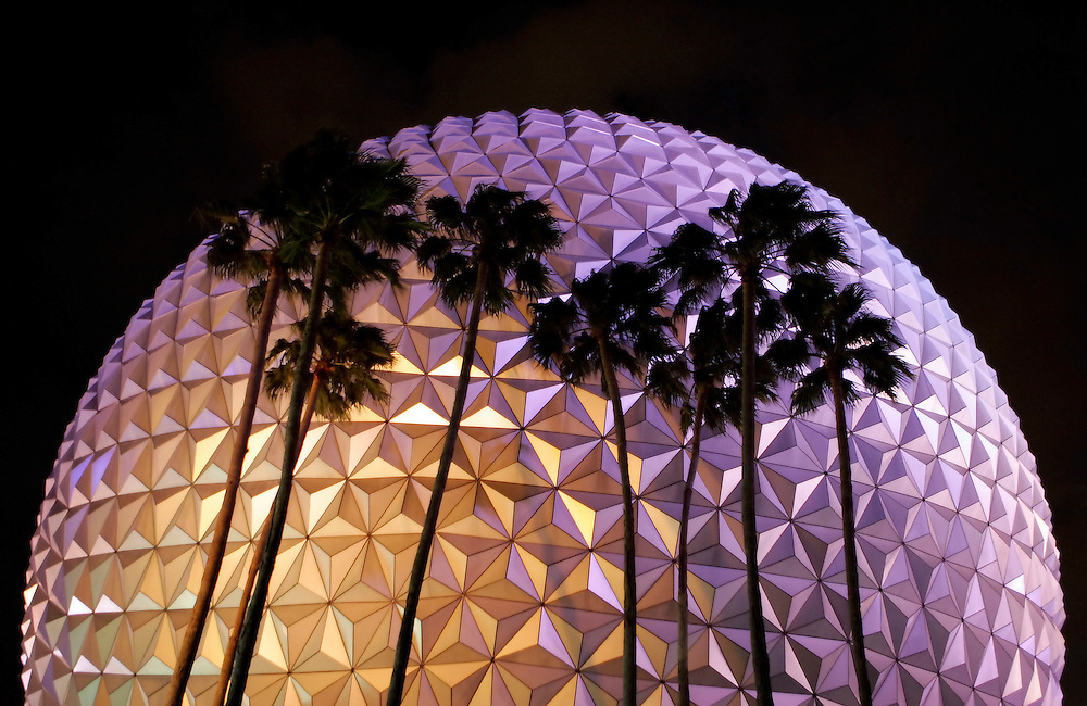 Lights reflect off of Spaceship Earth at Epcot Center in Lake Buena Vista, Florida.