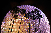Lights reflect off of Spaceship Earth at Epcot Center in Lake Buena Vista, Florida.