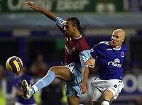 Photo: Paul Thomas.<br /> Everton v West Ham United. The Barclays Premiership. 03/12/2006.<br /> <br /> Andy Johnson (R) of Everton puts pressure on Anton Ferdinand of West Ham.