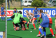 Cross by Emily NAYLOR leading to opening goal for New Zealand Goal By Katie GLYNN during the BDO Womenís Championship Challenge match between New Zealand and Italy held at the Hartleyvale stadium in Cape Town, South Africa, 14 October 2009