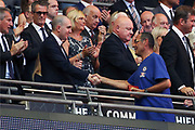 Chelsea manager Maurizio Sarri collecting runners up medal during the FA Community Shield match between Chelsea and Manchester City at Wembley Stadium, London, England on 5 August 2018.