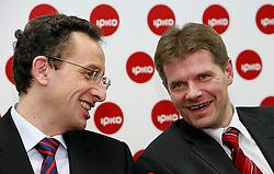 PRISTINA, KOSOVO - DECEMBER 14 - Dr. Ziga Turk, Bojan Dremelj na novinarski konferenci, kjer so predstavili zacetek delovanja drugega mobilnega operaterja IPKO, ki je v 67% lasti Telekoma Slovenije.