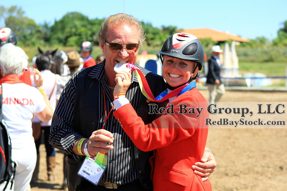 Jessica Phoenix individual gold medal winner in Eventing with Don J Good, owner of Pavarotti at the 2011 Pan American Games in Guadalajara, Mexico.