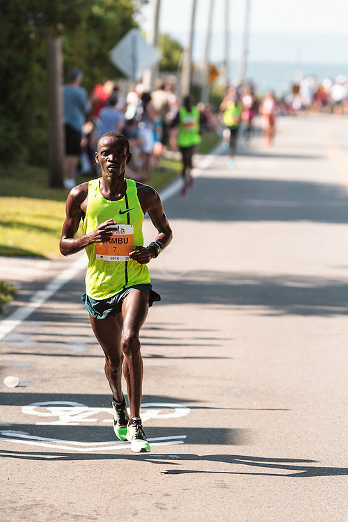 Falmouth Road Race Stephen Sambu on way to victory, two miles to go