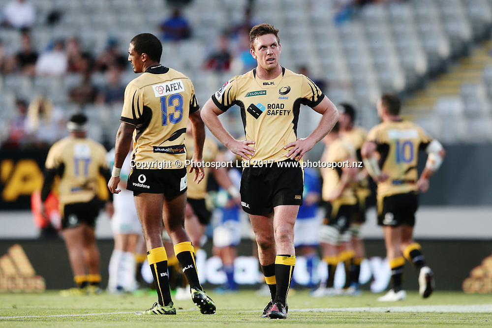 Dane Haylett-Petty of the Force looks on. Super Rugby match, Blues v Force at Eden Park, Auckland, New Zealand. 1 April 2017 © Copyright Photo: Anthony Au-Yeung / www.photosport.nz