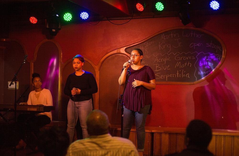 Jasmine Dabney, Clarke Kellum, and Kayla Randolph perform during the Creative Arts as Activism: Open Mic Night at Casa Nueva on Jan. 19, 2017.