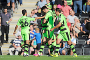 Rhys Murphy (39) of Forset Green Rovers celebrates scoring a goal to make it 5-1 with Kieffer Moore (14) of Forset Green Rovers and other team mates during the Vanarama National League match between Forest Green Rovers and Southport at the New Lawn, Forest Green, United Kingdom on 29 August 2016. Photo by Graham Hunt.