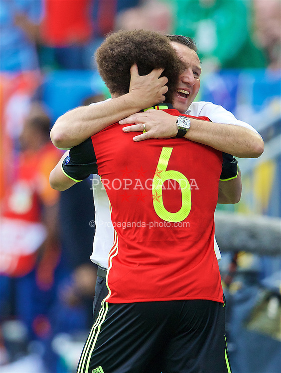 BORDEAUX, FRANCE - Saturday, June 18, 2016: Belgium's Axel Witsel celebrates scoring his first goal with Belgium manager Marc Wilmots to make the score 2-0 during the UEFA Euro 2016 Championship Group E match against the Republic of Ireland at Stade de Bordeaux. (Pic by Paul Greenwood/Propaganda)