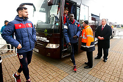 Famara Diedhiou of Bristol City arrives at Pride Park Stadium for the Sky Bet Championship game against Derby County - Mandatory by-line: Robbie Stephenson/JMP - 22/12/2018 - FOOTBALL - Pride Park Stadium - Derby, England - Derby County v Bristol City - Sky Bet Championship
