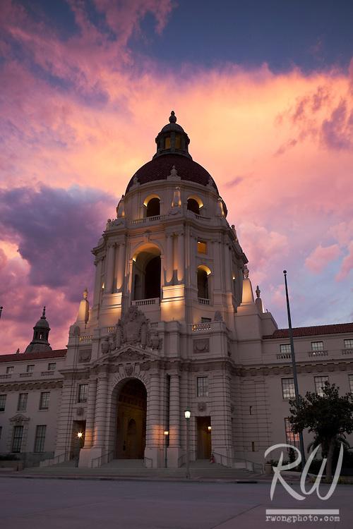 Pasadena City Hall at Sunset, California