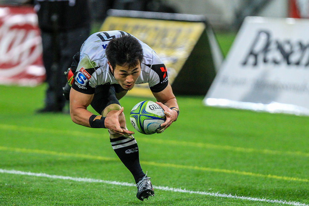 Kenki Fukuoka dives to score during the Super Rugby union game between Hurricanes and Sunwolves, played at Westpac Stadium, Wellington, New Zealand on 27 April 2018.   Hurricanes won 43-15.