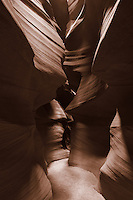Upper Antelope Canyon, Page Arizona. Image taken with a Nikon D3 camera and 14-24 mm f/2.8 lens (ISO 200, 24 mm, f/16, 15 sec). Image processed with Capture One Pro (including conversion to sepia)..