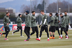 March 6, 2018 - Vinovo, Piedmont, Italy - Juventus players during the training on the eve of the second leg of the Round 16 of the UEFA Champions League 2017/18 between Juventus FC and Tottenham Hotspur FC at Juventus Training Center on 06 March, 2018 in Vinovo (Turin), Italy. (Credit Image: © Massimiliano Ferraro/NurPhoto via ZUMA Press)
