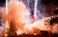 Soldiers from the Wisconsin Army Guard fire off 105-mm howitzers during the fireworks show. .The 2012 Rhythm and Booms event was held Saturday June 30, 2012 in Warner Park on Madison's north side.