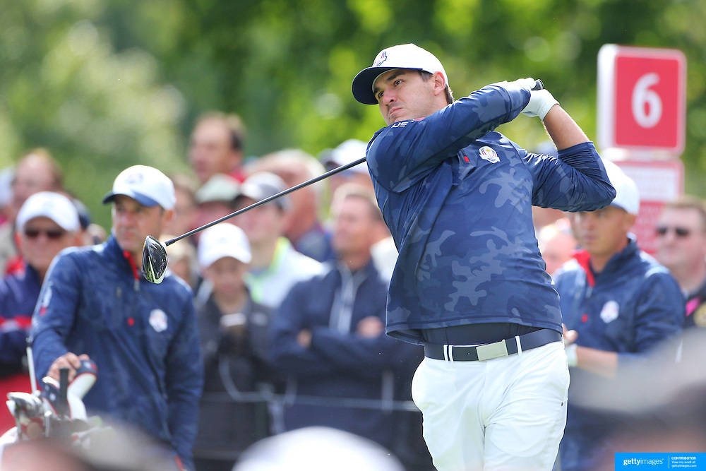 Ryder Cup 2016. Brooks Koepka of the United States during practice day in front of massive crowds at the Hazeltine National Golf Club on September 28, 2016 in Chaska, Minnesota.  (Photo by Tim Clayton/Corbis via Getty Images)