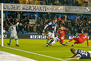 GOAL 1-2 Nottingham Forest forward Lewis Grabban (7) scores during the EFL Sky Bet Championship match between Millwall and Nottingham Forest at The Den, London, England on 6 December 2019.