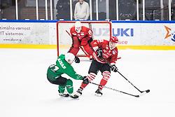 STOJAN Nejc vs RAJSAR Saso during the match between HDD Jesenice vs HK SZ Olimpia at 16th International Summer Hockey League Bled 2019 on 24th August 2019. Photo by Peter Podobnik / Sportida