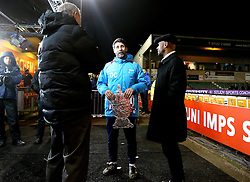 Lincoln City manager Danny Cowley holds a tin foil version of the FA Cup while he chats with BBC Pundits - Mandatory by-line: Robbie Stephenson/JMP - 17/01/2017 - FOOTBALL - Sincil Bank Stadium - Lincoln, England - Lincoln City v Ipswich Town - Emirates FA Cup third round replay