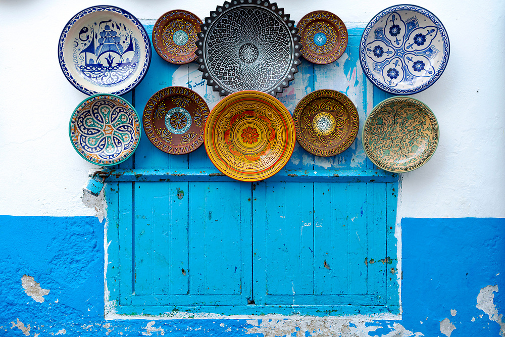 Moroccan ceramics for sale, Asilah Medina, Northern Morocco, 2015-08-11.