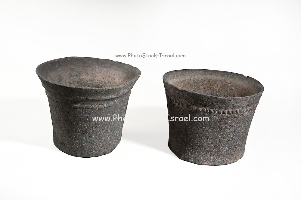 2 Chalcolithic (Copper age) Basalt bowls with rope decorations (private collection)