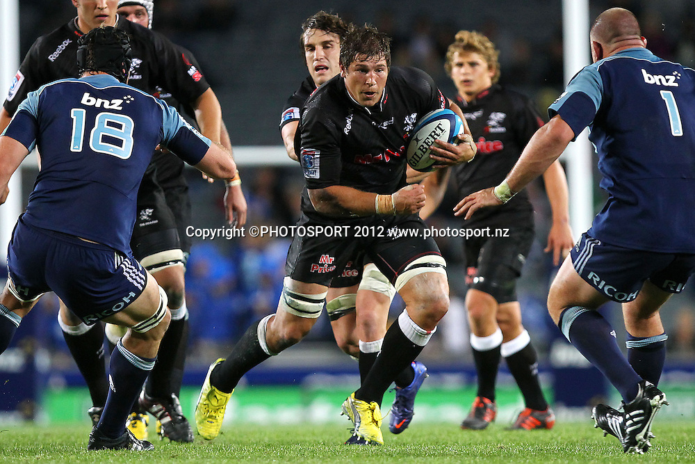 Sharks' Jandre Marais in action. Super Rugby rugby union match, Blues v Sharks at Eden Park, Auckland, New Zealand. Friday 13th April 2012. Photo: Anthony Au-Yeung / photosport.co.nz