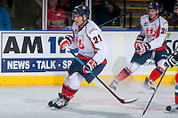KELOWNA, CANADA - OCTOBER 31: Ryan Vandervlis #21 of Lethbridge Hurricanes skates against the Kelowna Rockets on October 31, 2015 at Prospera Place in Kelowna, British Columbia, Canada.  (Photo by Marissa Baecker/Shoot the Breeze)  *** Local Caption *** Ryan Vandervlis;