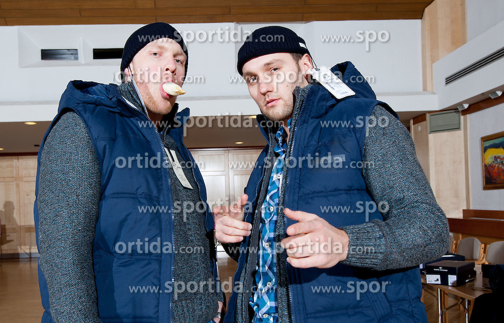 Miha and his brother Luka Zvizej of Slovenian Handball Men National Team when they get new clothes of Sportina Group for the EHF European Championship EURO 2012 in Serbia, on January 11, 2011, in Zrece, Slovenia. (Photo by Vid Ponikvar / Sportida)