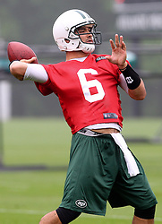 May 24, 2012; Florham Park, NJ, USA; New York Jets quarterback Mark Sanchez (6) during the New York Jets OTA at their training facility.