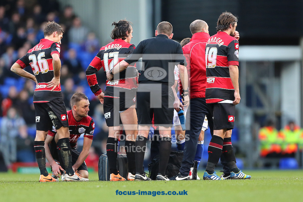 Picture by Richard Calver/Focus Images Ltd +447792 981244<br /> 11/01/2014<br /> Joey Barton of Queens Park Rangers was substituted shortly after receiving this treatment during the Sky Bet Championship match against Ipswich Town at Portman Road, Ipswich.