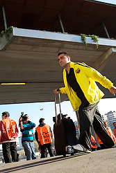Xavi Hernandez arrives before the Champions League quarter final first leg game between Barcelona and Shaktar Donetsk at the Nou Camp, Barcelona, Spain, 5th April 2011