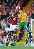 Bristol - Saturday, October 18th, 2008: Dele Adebola of Bristol City and Matt Pattison of Norwich City during the Coca Cola Championship match at Ashton Gate, Bristol. (Pic by Alex Broadway/Focus Images)