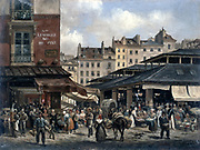 View of the Market of Les Halles': c1828.  Giuseppe Canella I (1788-1847), Italian painter. Les Halles was for centuries the food market of Paris, but was moved out  to Rungis in 1969.