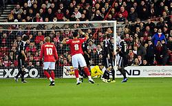 Nottingham Forest's Lewis McGugan  goes close with a free kick but it is saved well by Bristol City Goalkeeper, David James - Photo mandatory by-line: Matt Bunn/JMP - 25/01/2011 - SPORT - FOOTBALL - npower championship-Nottingham Forest v Bristol city-City Ground-Nottingham