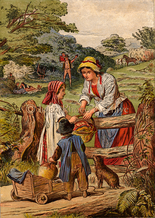 Summer: Children with a little cart bringing food and drink to their parents who are Haymaking. Chomolithograph c1870.