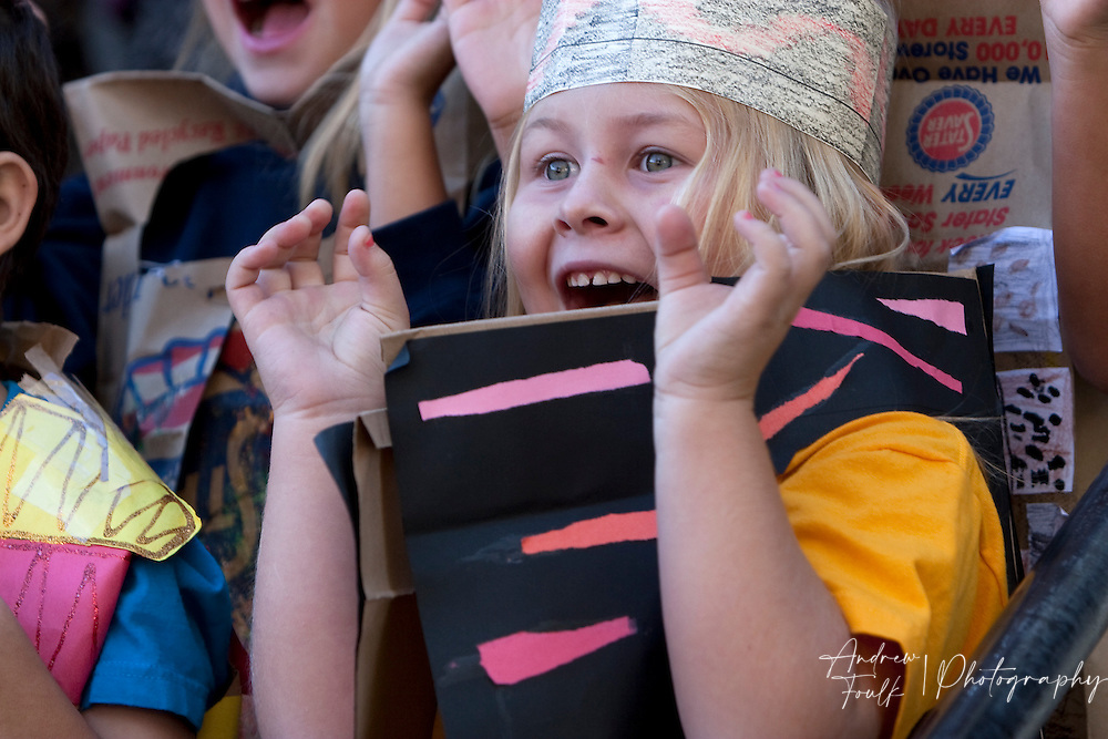 "/Andrew Foulk/ For The Californian/ .Candice Oestreich, a first graders at Avaxat Elementary screams and claws during the schools ""Wild Rumpus"" where students dressed up as characters from the book ""Where the Wild Things Are""."