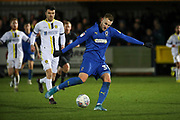 AFC Wimbledon striker Joe Pigott (39) shoots at goal during the EFL Sky Bet League 1 match between AFC Wimbledon and Burton Albion at the Cherry Red Records Stadium, Kingston, England on 28 January 2020.