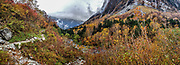"Fall foliage colors at the foot of Byobuiwa rocks in Yokoo Valley, Hida Mountains, Chubu-Sangaku National Park, in the ""Northern Alps"" of the Japanese Alps, near Kamikochi, Nagano Prefecture, Japan."