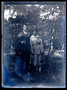 couple outdoors posing France circa 1930s