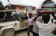 Port-au-Prince, Haiti.<br />UN patrol in the pro-Aristide and oftern violent slum of Bel-Air. Haiti, the western hemisphere's poorest country, faces another election. Difficulties in preparing the election has delayed the election date. A multinational UN peacekeeping force is present to try to maintain stability in the political vacuum caused by the ouster of former president Aristide.