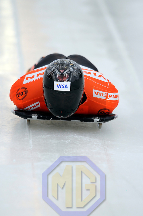 14 December 2007:  Paul Boehm of Canada competes at the FIBT World Cup Men's skeleton competition on December 14, 2007 at the Olympic Sports Complex in Lake Placid, NY.  The race won by Eric Bernotas of the United States.