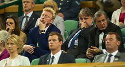 LONDON, ENGLAND - Saturday, June 30, 2012: Boris Becker feels the strain of a late match during the Gentlemen's Singles 3rd Round match on day five of the Wimbledon Lawn Tennis Championships at the All England Lawn Tennis and Croquet Club. (Pic by David Rawcliffe/Propaganda)