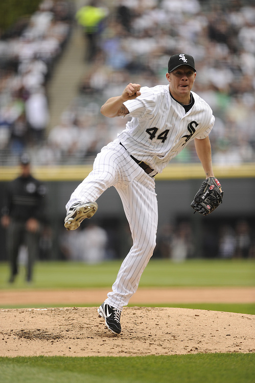 CHICAGO - APRIL 13:  Jake Peavy #44 of the Chicago White Sox pitches against the Detroit Tigers on Opening Day, April 13, 2011 at U.S. Cellular Field in Chicago, Illinois.  The White Sox defeated the Tigers 5-2.  (Photo by Ron Vesely)   Subject:  Jake Peavy