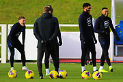 England defender Joe Gomez and team mates smile during the England football team training session at St George's Park National Football Centre, Burton-Upon-Trent, United Kingdom on 13 November 2019.