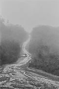 Brazil, Br 156, amapa.<br /> <br /> Six cents Km de piste en terre battue relient la fronti&egrave;re guyanaise depuis Oiapoque jusqu'&agrave; Macapa, sur l'embouchure de l'Amazone. <br /> <br /> Unique axe de transport routier, la piste alimente la foret guyanaise en machines et en main-d'oeuvre clandestine.