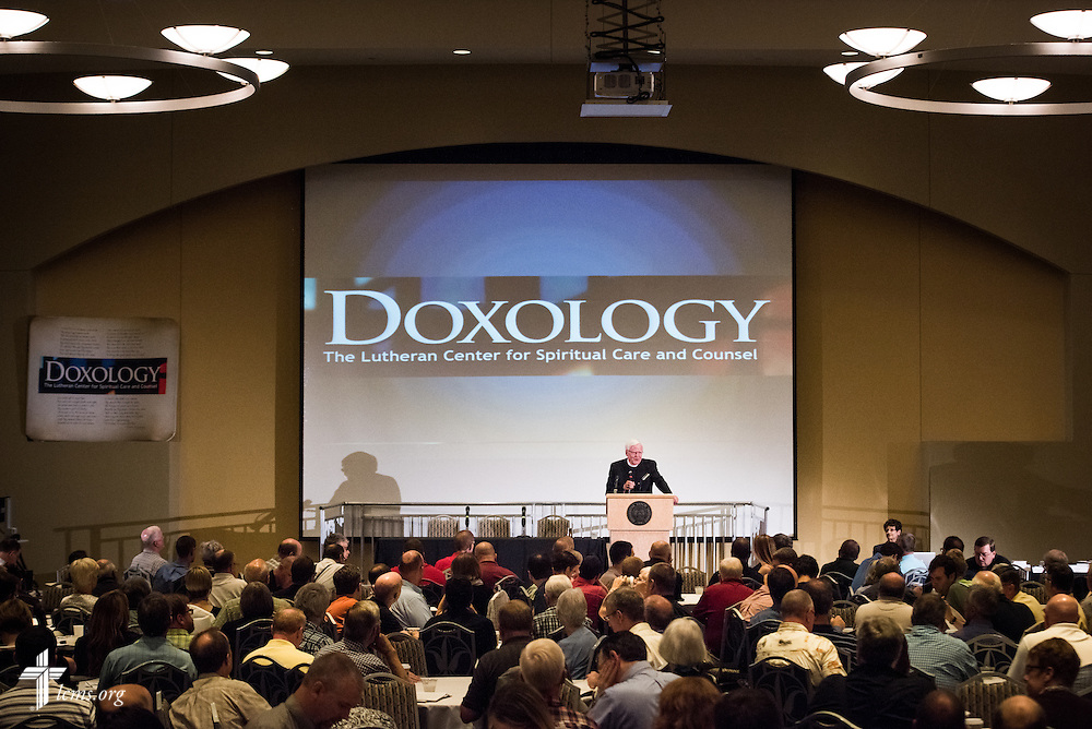 "Harold L. Senkbeil, Executive Director for Spiritual Care, introduces participants to the DOXOLOGY event, ""Finding Our Voice,"" on Wednesday, August 12, 2015, at Saint Louis University in Midtown St. Louis. LCMS Communications/Erik M. Lunsford"
